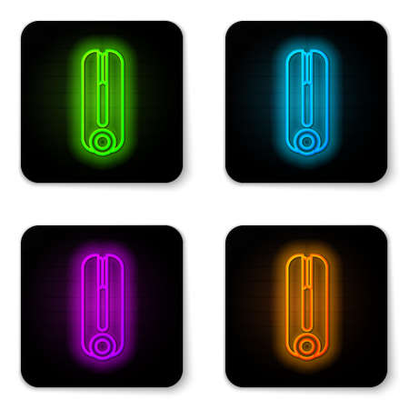 Glowing neon line Curling iron for hair icon isolated on white background. Hair straightener icon. Black square button. Vector Illustration.