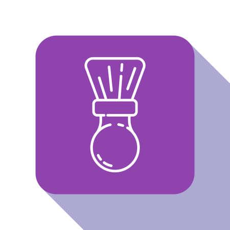 White line Shaving brush icon isolated on white background. Barbershop symbol. Purple square button. Vector Illustration.