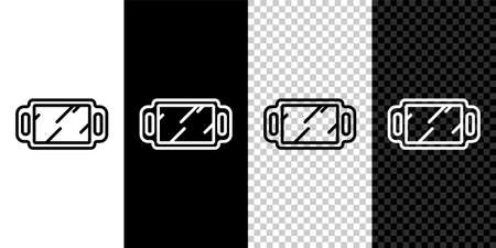 Set line Hand mirror icon isolated on black and white background. Vector Illustration.