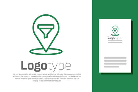 Green line Location with sales funnel icon isolated on white background. Infographic template. Logo design template element. Vector Illustration. Illusztráció