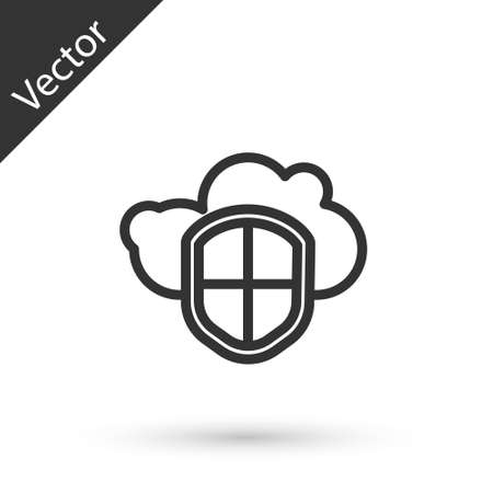 Grey line Cloud and shield icon isolated on white background. Cloud storage data protection. Security, safety, protection, privacy concept. Vector Illustration.