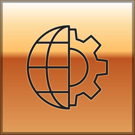 Black line Globe of the Earth and gear or cog icon isolated on gold background. Setting parameters. Global Options. Vector Illustration. Ilustracja