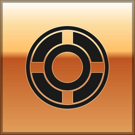 Black Ashtray icon isolated on gold background. Vector Illustration. Illustration