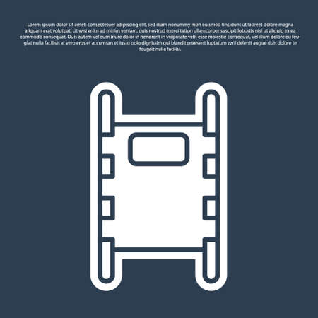 Blue line Stretcher icon isolated on blue background. Patient hospital medical stretcher. Vector Illustration. Stock Illustratie