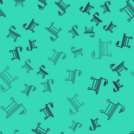 Black line Operating table icon isolated seamless pattern on green background. Vector Illustration. Vectores