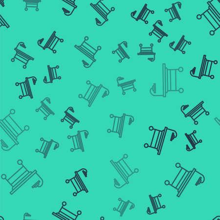Black line Operating table icon isolated seamless pattern on green background. Vector Illustration. Illusztráció