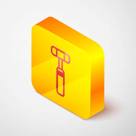 Isometric line Neurology reflex hammer icon isolated on grey background. Yellow square button. Vector Illustration.