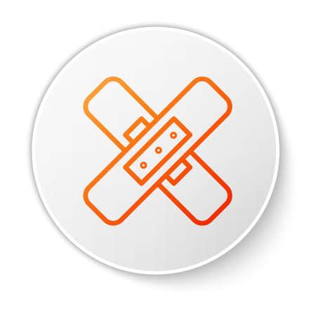 Orange line Crossed bandage plaster icon isolated on white background. Medical plaster, adhesive bandage, flexible fabric bandage. White circle button. Vector Illustration.