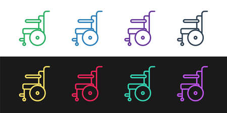 Set line Wheelchair for disabled person icon isolated on black and white background. Vector Illustration.