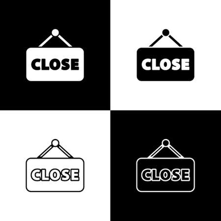 Set Hanging sign with text Closed icon isolated on black and white background. Business theme for cafe or restaurant. Vector Illustration.