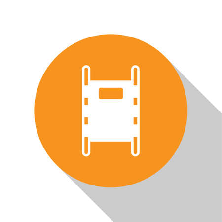 White Stretcher icon isolated on white background. Patient hospital medical stretcher. Orange circle button. Vector Illustration.