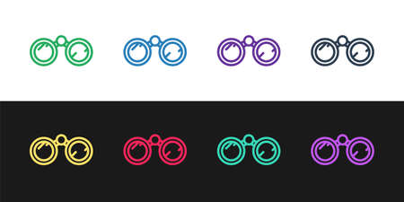 Set line Binoculars icon isolated on black and white background. Find software sign. Spy equipment symbol. Vector Illustration.