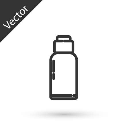 Grey line Canteen water bottle icon isolated on white background. Tourist flask icon. Jar of water use in the campaign. Vector Illustration.