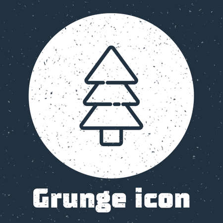Grunge line Tree icon isolated on grey background. Forest symbol. Monochrome vintage drawing. Vector Illustration.