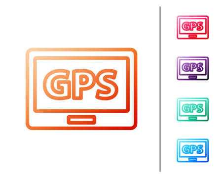 Red line Gps device with map icon isolated on white background. Set color icons. Vector Illustration. Illusztráció