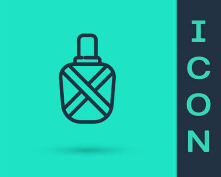 Black line Canteen water bottle icon isolated on green background. Tourist flask icon. Jar of water use in the campaign. Vector Illustration.