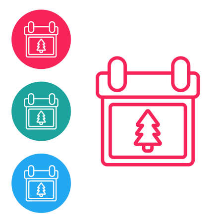 Red line Calendar with tree icon isolated on white background. Event reminder symbol. Merry Christmas and Happy New Year. Set icons in circle buttons. Vector Illustration. Stock Illustratie