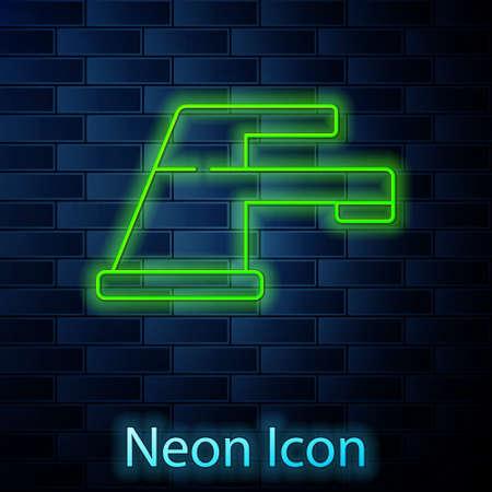 Glowing neon line Water tap icon isolated on brick wall background. Vector Illustration. Illusztráció