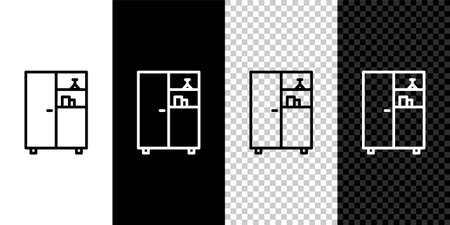 Set line Medicine cabinet icon isolated on black and white background. Vector Illustration.