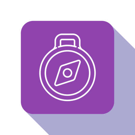 White line Compass icon isolated on white background. Windrose navigation symbol. Wind rose sign. Purple square button. Vector Illustration.