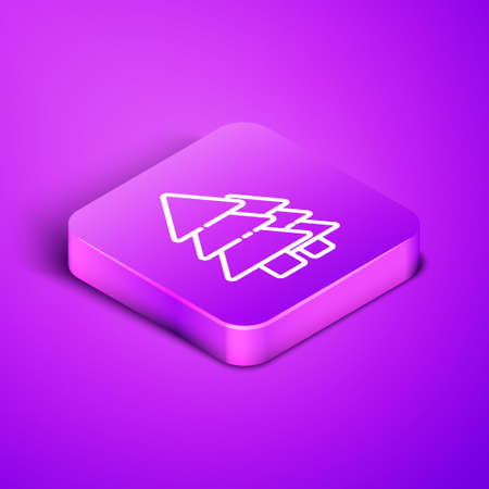 Isometric line Tree icon isolated on purple background. Forest symbol. Purple square button. Vector Illustration.