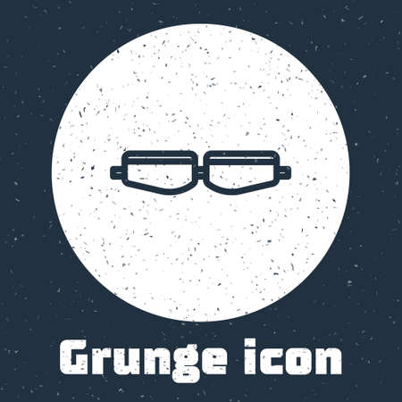 Grunge line Safety goggle glasses icon isolated on grey background. Monochrome vintage drawing. Vector Illustration.
