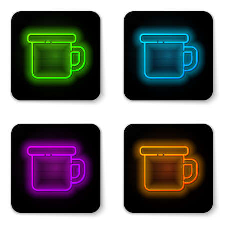Glowing neon line Camping metal mug icon isolated on white background. Black square button. Vector Illustration. Ilustração