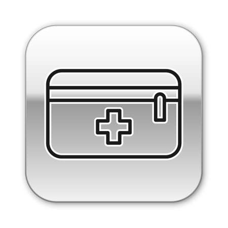 Black line First aid kit icon isolated on white background. Medical box with cross. Medical equipment for emergency. Healthcare concept. Silver square button. Vector Illustration. Ilustração