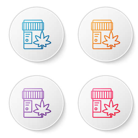 Color line Medical bottle with marijuana or cannabis leaf icon isolated on white background. Mock up of cannabis oil extracts in jars. Set icons in circle buttons. Vector Illustration.