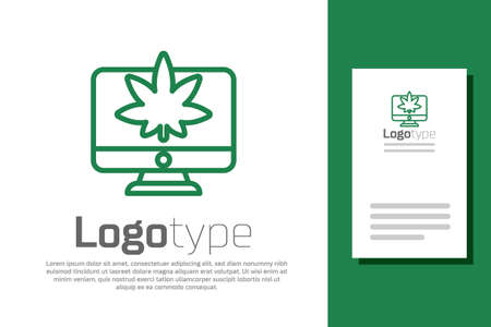 Green line Computer monitor and medical marijuana or cannabis leaf icon isolated on white background. Online buying. Supermarket basket. Logo design template element. Vector Illustration.
