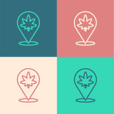 Pop art line Map pointer and marijuana or cannabis leaf icon isolated on color background. Hemp symbol. Vector Illustration. Illusztráció