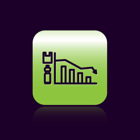 Black line Ecology infographic icon isolated on black background. Green square button. Vector Illustration.