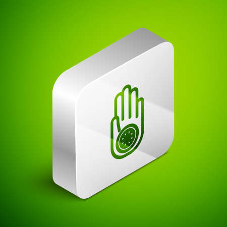 Isometric line Symbol of Jainism or Jain Dharma icon isolated on green background. Religious sign. Symbol of Ahimsa. Silver square button. Vector Illustration.
