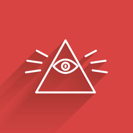 White line Masons symbol All-seeing eye of God icon isolated with long shadow. The eye of Providence in the triangle. Vector Illustration.