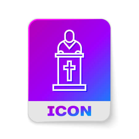 White line Church pastor preaching icon isolated on white background. Rectangle color button. Vector Illustration.