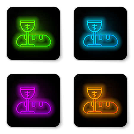 Glowing neon line First communion symbols for a nice invitation icon isolated on white background. Black square button. Vector Illustration. Ilustrace