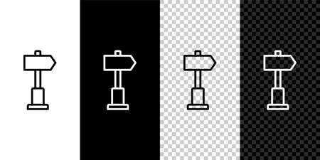 Set line Road traffic sign. Signpost icon isolated on black and white background. Pointer symbol. Street information sign. Direction sign. Vector Illustration.