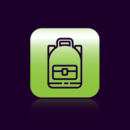 Black line Hiking backpack icon isolated on black background. Camping and mountain exploring backpack. Green square button. Vector Illustration. Vectores