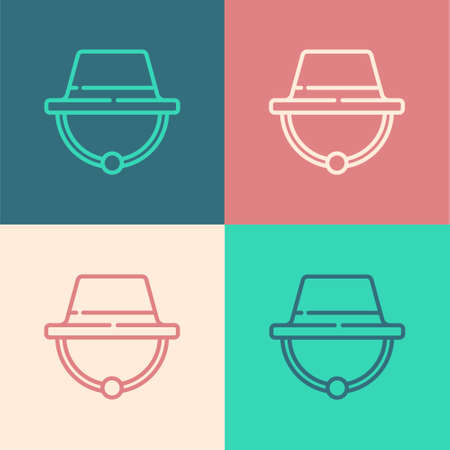 Pop art line Camping hat icon isolated on color background. Beach hat panama. Explorer travelers hat for hunting, hiking, tourism. Vector Illustration.