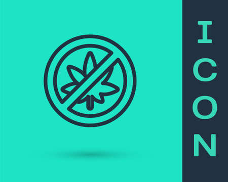 Black line Stop marijuana or cannabis leaf icon isolated on green background. No smoking marijuana. Hemp symbol. Vector Illustration.