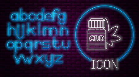 Glowing neon line Medical bottle with marijuana or cannabis leaf icon isolated on brick wall background. Mock up of cannabis oil extracts in jars. Neon light alphabet. Vector Illustration. Ilustração