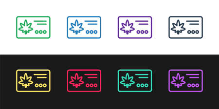 Set line Calendar and marijuana or cannabis leaf icon isolated on black and white background. National weed day. Hemp symbol. Vector Illustration.