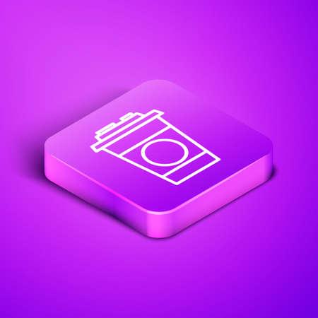 Isometric line Paper glass icon isolated on purple background. Soda drink glass. Fresh cold beverage symbol. Purple square button. Vector Illustration. Illusztráció