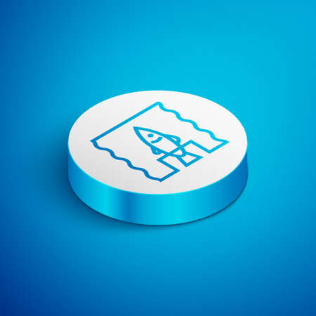 Isometric line Stop ocean plastic pollution icon isolated on blue background. Environment protection concept. Fish say no to plastic. White circle button. Vector Illustration.