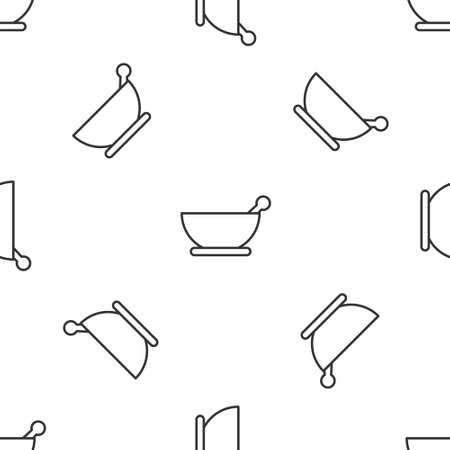 Grey line Mortar and pestle icon isolated seamless pattern on white background. Vector Illustration.