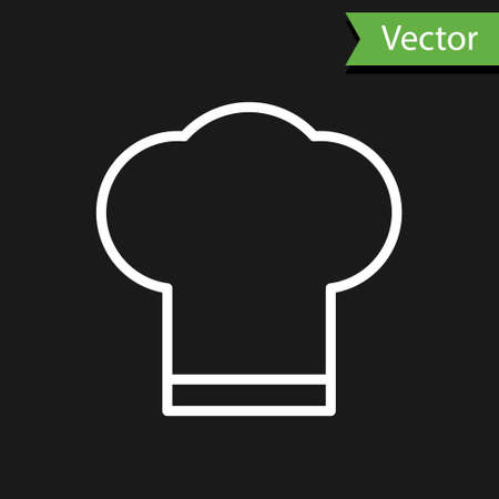 White line Chef hat icon isolated on black background. Cooking symbol. Cooks hat. Vector Illustration.