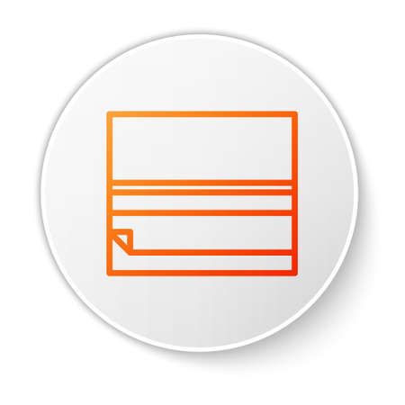 Orange line Rolling paper icon isolated on white background. White circle button. Vector Illustration. Illusztráció