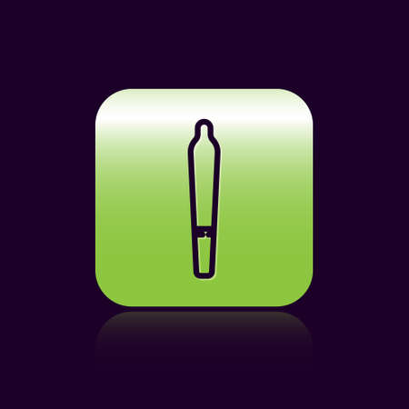 Black line Marijuana joint, spliff icon isolated on black background. Cigarette with drug, marijuana cigarette rolled. Green square button. Vector Illustration.