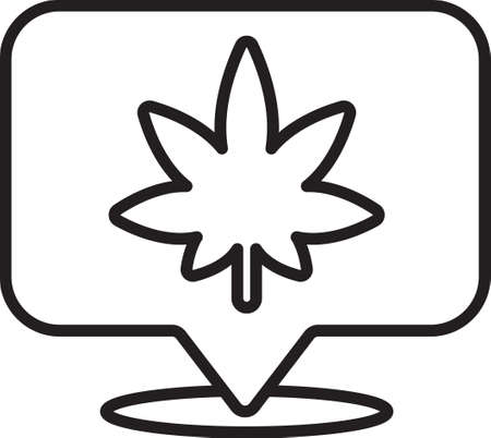 Black line Map pointer and marijuana or cannabis leaf icon isolated on white background. Hemp symbol. Vector Illustration. Illusztráció