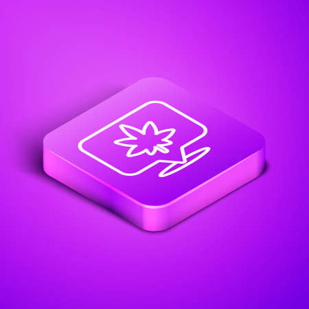 Isometric line Map pointer and marijuana or cannabis leaf icon isolated on purple background. Hemp symbol. Purple square button. Vector Illustration.